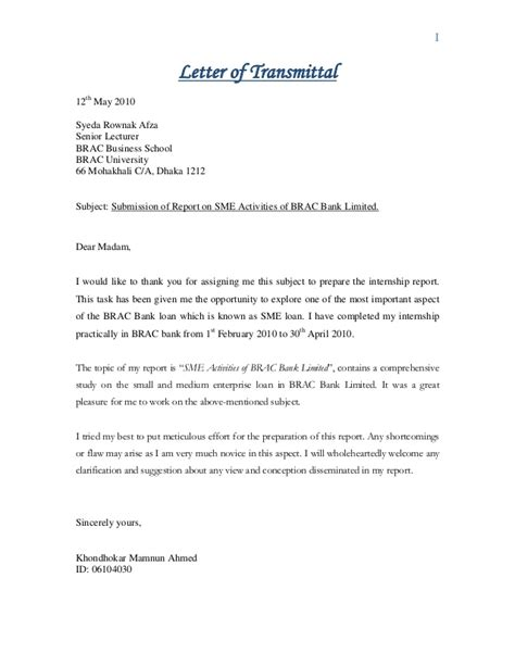 Transmittal Letter To A Bank Internship Report On Sme Activities Of Brac Bank Limited By Lecturesh