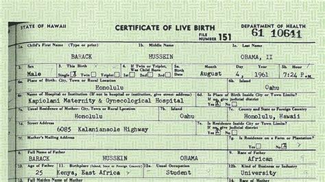 certificate of live birth template obama birth place debate