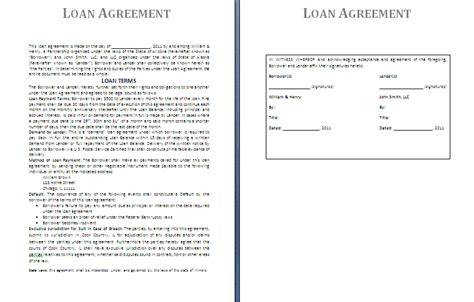 loan template loan agreement template free agreement and contract