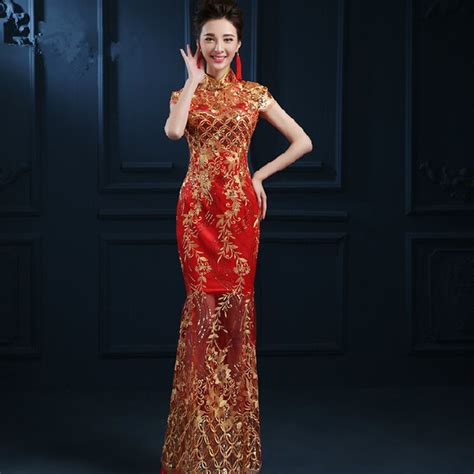 Dress Of The Day Golden Lace Qi Pao by 2017 New Lace Cheongsam Dress Wedding Qipao