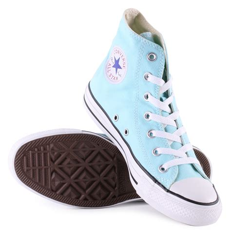 light blue converse converse chuck taylor all star hi womens trainers in light