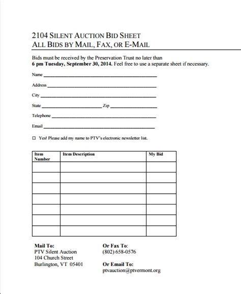 bid list template 12 silent auction forms template templates assistant