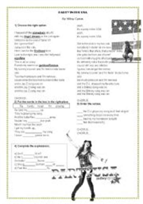 printable lyrics to party in the usa english worksheets using songs worksheets page 3