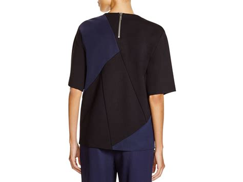 color block tops lyst dkny embellished color block top in black