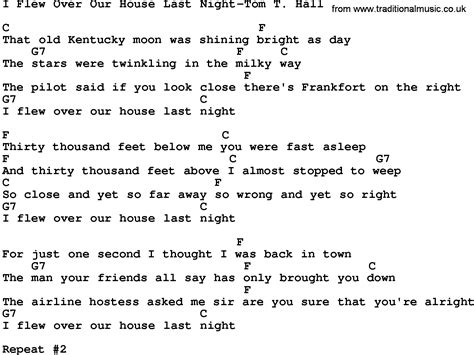 our house musical lyrics country music i flew over our house last night tom t hall lyrics and chords