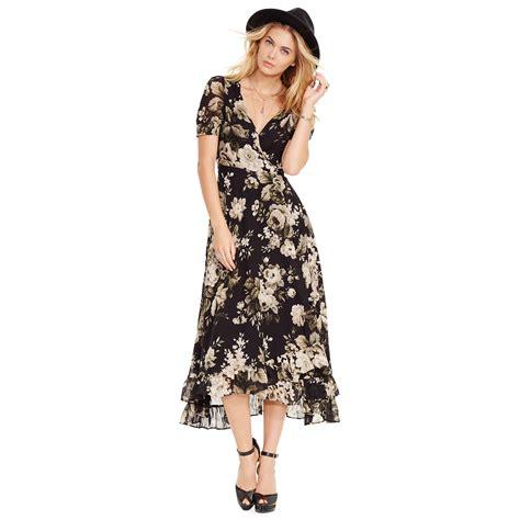 Floral Print Wrap Dress denim supply ralph floral print wrap maxi dress