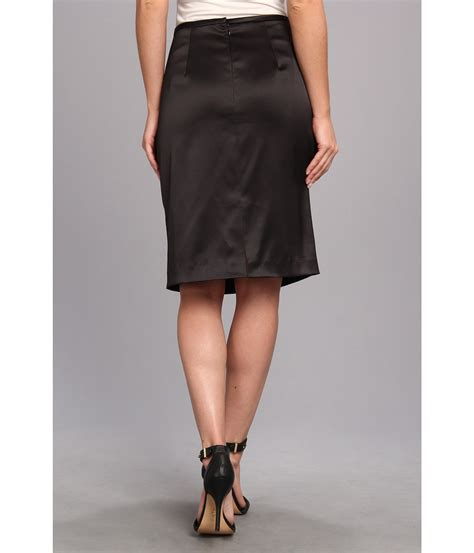 papell stretch satin pencil skirt black shipped