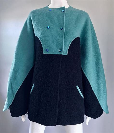 boiled wool swing jacket vintage geoffrey beene blue black boiled wool avant