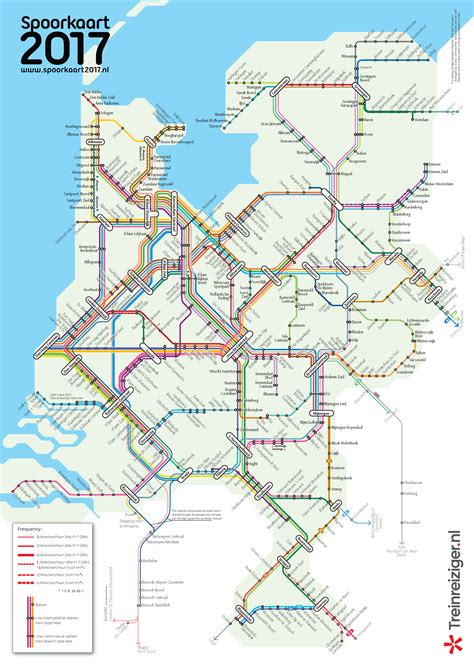 netherlands line map passenger lines and their frequencies 2017