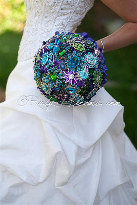 purple green blue peacock wedding broach bouquet by gold black and green peacock wedding brooch bouquet