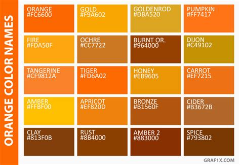 names of orange colors list of colors with color names graf1x com
