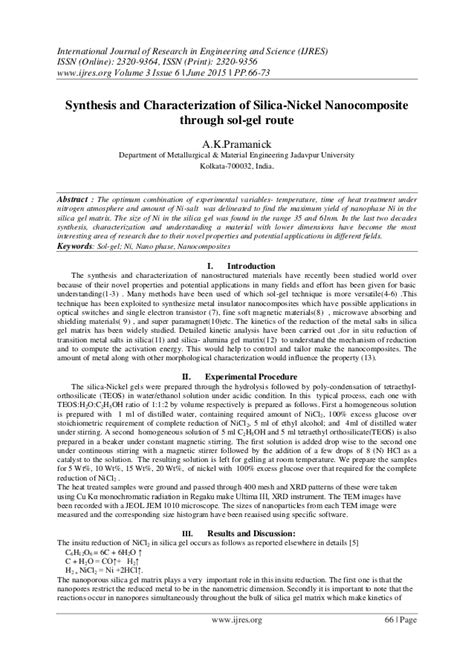 synthesis and characterization of nickel and nickel synthesis and characterization of silica nickel