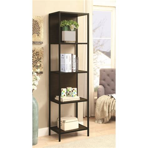 coaster 4 shelf semi backless bookcase in black and