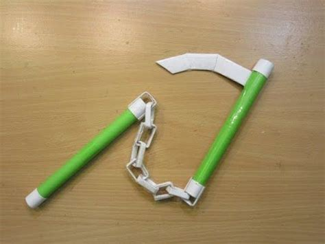 how to make a paper weapon kusari gama easy
