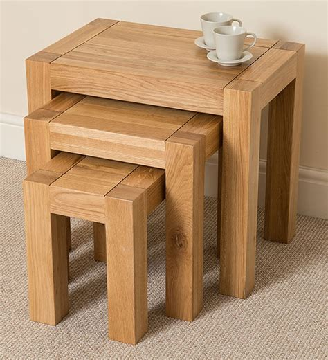 Kuba Chunky Solid Oak Wood Nest Of 3 Tables Living Room Oak Side Tables For Living Room