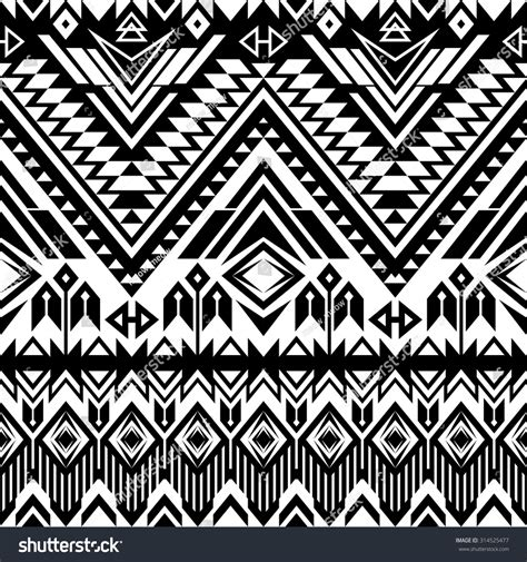 abstract aztec pattern black white tribal navajo seamless pattern stock vector