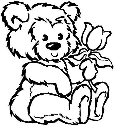 teddy bear with rose coloring page disney teddy bear coloring pics for kids disney cartoons