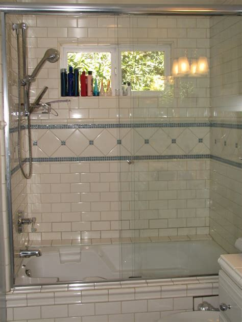 Subway Tile Bathroom Tub blue glass and white subway tile s tub shower