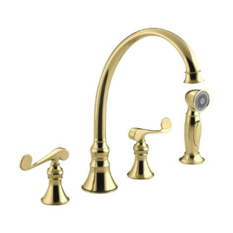 kitchen faucet 4 kohler k 16109 4 pb revival two handle kitchen faucet