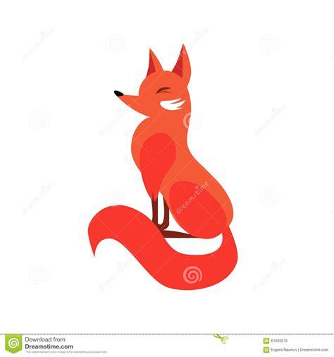 Flat Fox sitting fox in flat style vector illustration stock