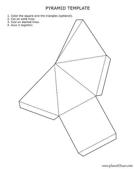 paper pyramid template printable 3d pyramid template color it cut it out fold