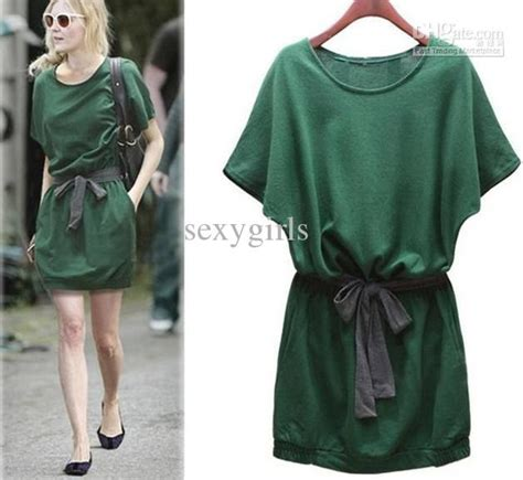 25081 Green Leisure Style Dress bohemian style dress knee length skirt new fashionable
