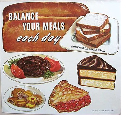 Fifties Home Decor by Set 4 Vintage 1950s Balance Your Meals Food Image Poster