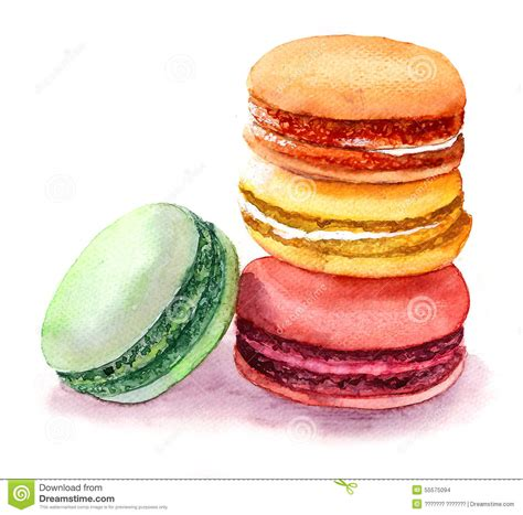 Vintage Home Design Plans by Cute Colored Macaroons Watercolor Food Image Stock