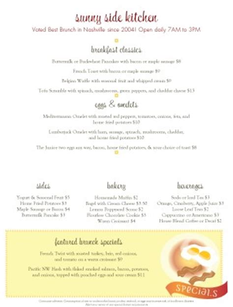 Breakfast Menu Template Breakfast Menus Brunch Menu Template