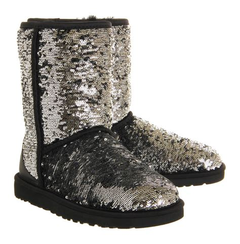 sparkle boots ugg classic sparkle sequined boots in metallic lyst