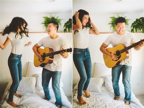 santa monica bed and breakfast los angeles engagement pictures love is breakfast together and jumping in bed