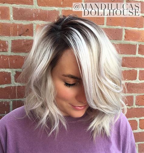 blonde bob dark roots pearlized blonde with stretched shadow root bayalage