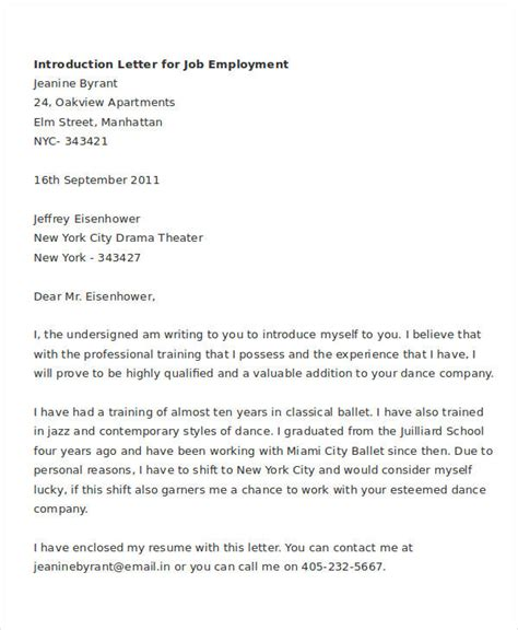 letter of introduction for employment template letter of introduction for 6 free word pdf