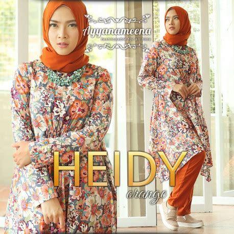 Tunik Heidy heidy orange baju muslim gamis modern
