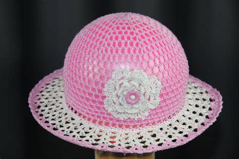 Handmade Childrens Hats - crochet hat for sun hats for babies with flower handmade