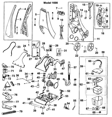 bissell proheat parts diagram bissell 1698 powersteamer pro upright cleaner parts
