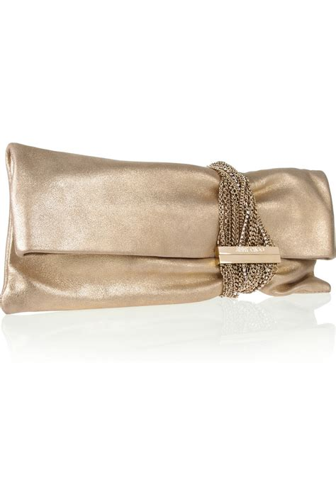 Jimmy Choo Shimmer Calfskin Clutch by Jimmy Choo Chandra Chainembellished Metallic