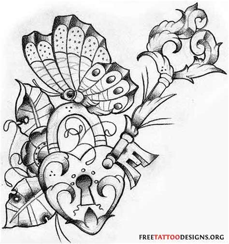 hearts and butterfly tattoo designs free key and coloring pages