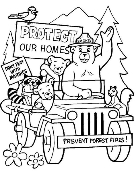 smokey the bear coloring page coloring home