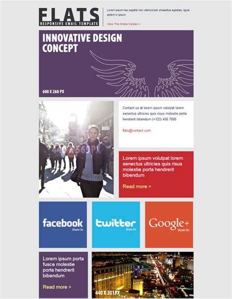 email newsletter template design 20 best flat style responsive email templates designbeep