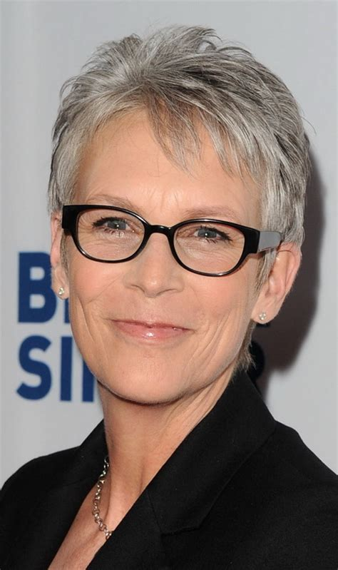 modern gray frame haircut short hairstyles for older women with glasses