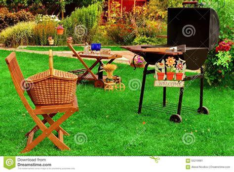 summer backyard summer backyard bbq grill party or picnic scene stock