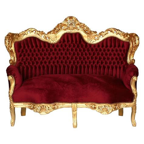 deep red velvet sofa 3 seater sofa deep red velvet golden carved wood frame