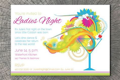 printable evening invitations printable cocktail invitation perfect for a ladies night