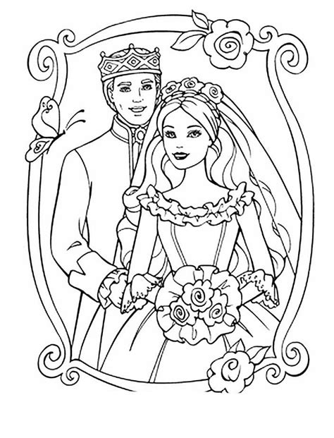 Princess And Prince Wedding Coloring Sheet Princess And Prince Coloring Pages