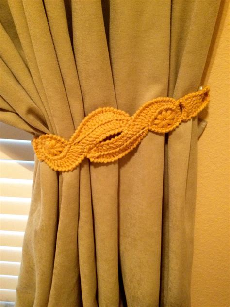 crochet curtain tie backs crochet curtain tiebacks 1 pair gold yellow