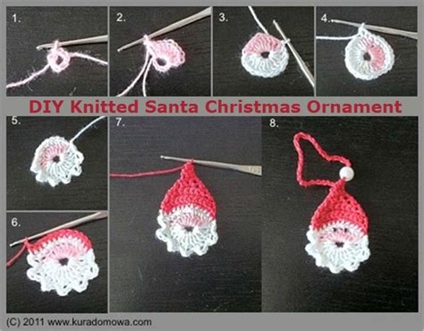 diy knitted santa christmas ornament diy crafts and ideas
