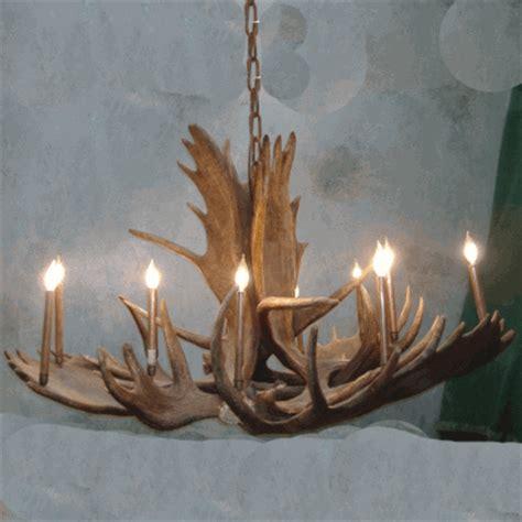 peak great room moose antler chandelier  light