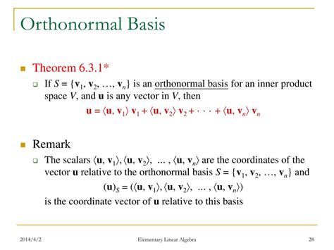 inner product orthonormal basis ppt elementary linear algebra anton rorres 9 th