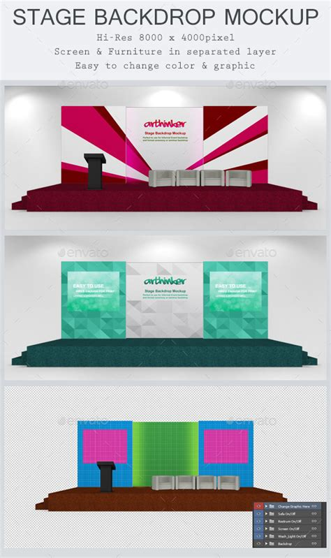 stage background design template stage backdrop mockup by arthinker graphicriver
